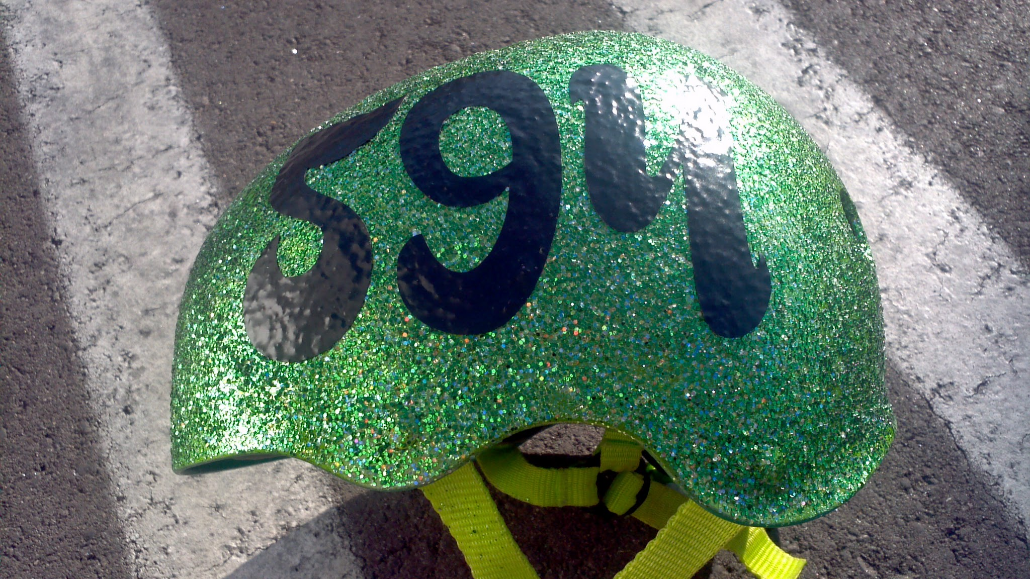 Custom font roller derby helmet number