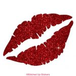 Kissing Lips Sticker Red Glitter Vinyl