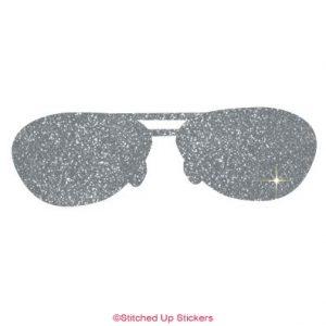 Sunglasses Sticker in Silver Glitter