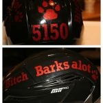 Custom Hockey Helmet Stickers in Red Glitter