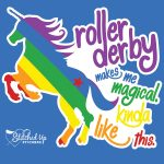 rainbow unicorn sticker roller derby