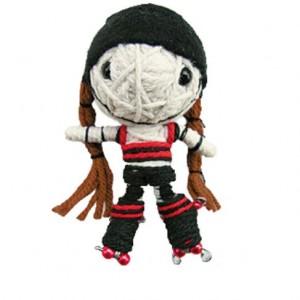 roller derby string doll voodoo blocker brown hair sn