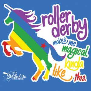 rainbow unicorn sticker roller derby