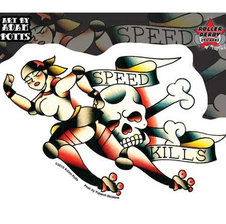Speed Kills Roller Derby Sticker