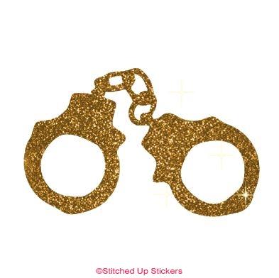 Handcuffs Sticker Glitter Gold