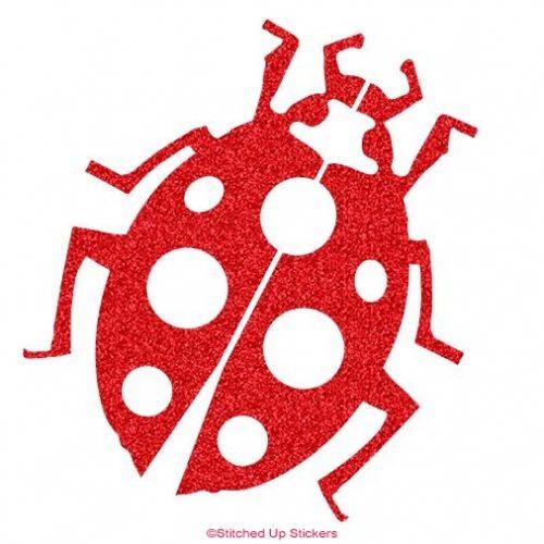 Ladybug Sticker Decal Red Glitter Vinyl