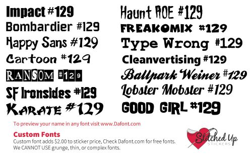 Stitched Up Stickers Fonts