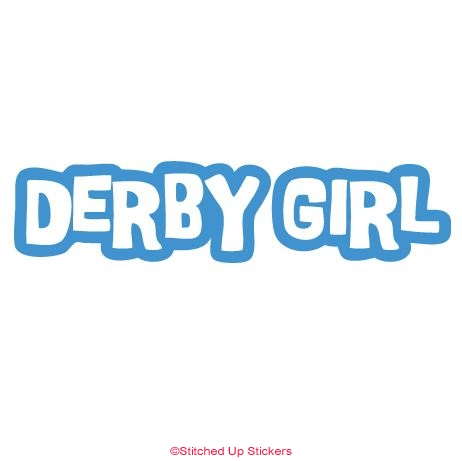 Derby girl sticker decal in blue