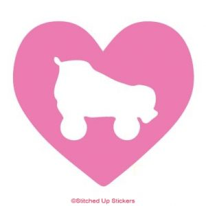 SKate Heart Sticker Roller Derby