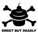Sweet But Deadly Cupcake Crossbones Sticker