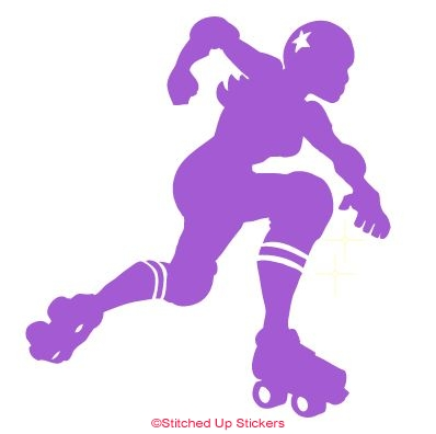Jammer Derby Skater Sticker Purple Vinyl
