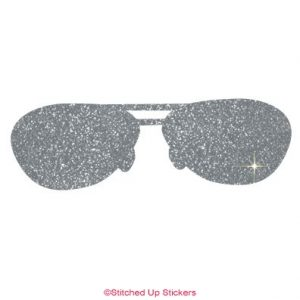 Sunglasses Sticker in Silver Glitter